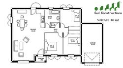 Modèle Rdc 80 m² + porche d'entrée : 92 500 € T.T.C.