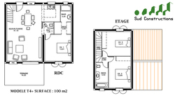 Modèle 100 m² avec suite parentale : 106 900 € T.T.C.