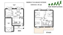 Modèle 85 m² avec garage intégré : 107 900 € T.T.C.