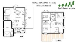 Modèle 105 m² avec garage intégré : 121 900 € T.T.C.